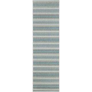 """Samantha Sand Stripe/ Ivory-Blueish Green Indoor/Outdoor Runner Rug - 2'3"""" x 11'9"""""""