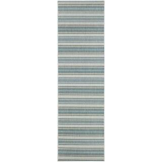 """Samantha Sand Stripe Ivory-Blueish Green Indoor/Outdoor Runner Rug - 2'3"""" x 11'9"""" Runner"""