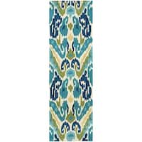 "Miami London Blue-Lemon Indoor/Outdoor Runner Rug - 2'6"" x 8'6"" runner"
