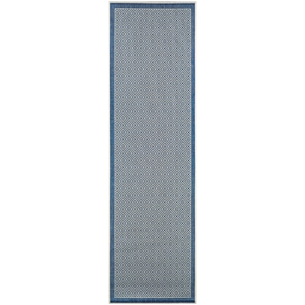 "Samantha Kimberly Sand-Blue Indoor/Outdoor Runner Rug - 2'3"" x 11'9"" Runner"