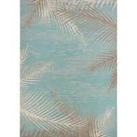 """Samantha Coconut Creek Turquoise-Ivory-Beige Indoor/Outdoor Runner Rug - 2'3"""" x 11'9"""""""