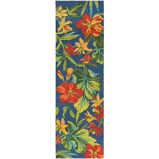 """Miami Spiced Orchid/ Blue- Green- Red Indoor/Outdoor Runner Rug - 2'6"""" x 8'6"""" runner"""