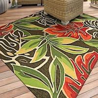 Miami Palms/ Brown-Deep Green Indoor/Outdoor Area Rug - 2' x 4'