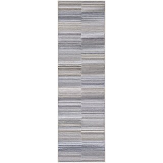 "Vector Cannon Ivory-Charcoal Indoor/Outdoor Runner Rug - 2'3"" x 11'9"" Runner"
