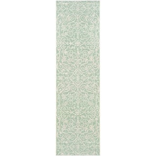 "Samantha Scroll Green Indoor/Outdoor Runner Rug - 2'3"" x 11'9"" Runner"