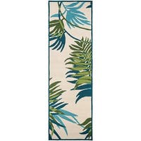Couristan Covington Jungle Leaves Ivory-Forest Green  Indoor/Outdoor Runner Rug - 2'6 x 8'6