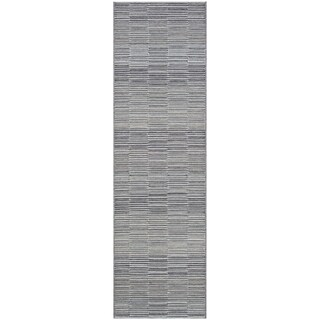 "Vector Caswell Silver-Charcoal Indoor/Outdoor Runner Rug - 2'3"" x 11'9"" Runner"