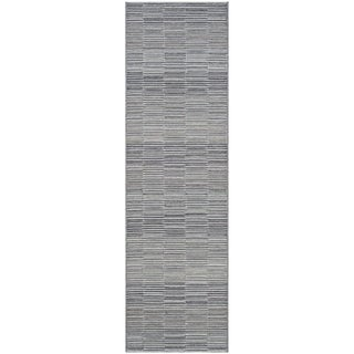 Couristan Cape Fayston Silver-Charcoal Indoor/Outdoor Runner Rug - 2'3 x 11'9