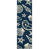 Couristan Outdoor Escape Cardita Shells Navy-Ivory Indoor/Outdoor Runner Rug - 2'6 x 8'6