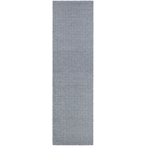 "Hand-Woven Villa Diamonds Navy Indoor/Outdoor Runner Rug - 2'3"" x 8' Runner"