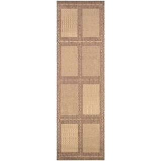 "Pergola Checkers Natural-Cocoa Indoor/Outdoor Runner Rug - 2'3"" x 7'10"" Runner"