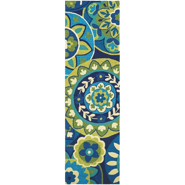 "Miami Sundial Teal-Green Indoor/Outdoor Runner Rug - 2'6"" x 8'6"" runner"