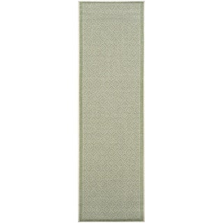 "Samantha Sand-Green Indoor/Outdoor Runner Rug - 2'3"" x 11'9"" Runner"
