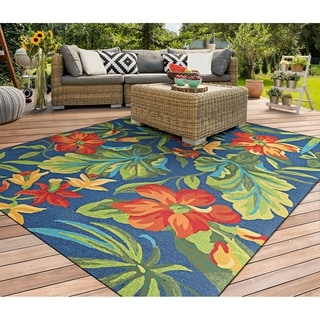 Miami Spiced Orchid/ Blue- Green- Red Indoor/Outdoor Rug - 2' x 4'