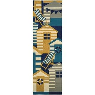 """Outdoor Escape Beach Hut Navy-Multicolor Indoor/Outdoor Runner Rug - 2'6"""" x 8'6"""" runner"""