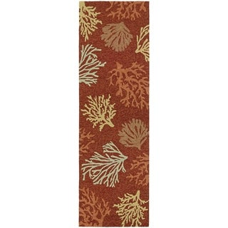 "Picadilly City Of The Sea Terracotta Indoor/Outdoor Runner Rug - 2'6"" x 8'6"" Runner"