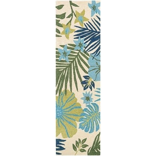 "Miami Tropics Ivory-Blue Indoor/Outdoor Runner Rug - 2'6"" x 8'6"" runner"