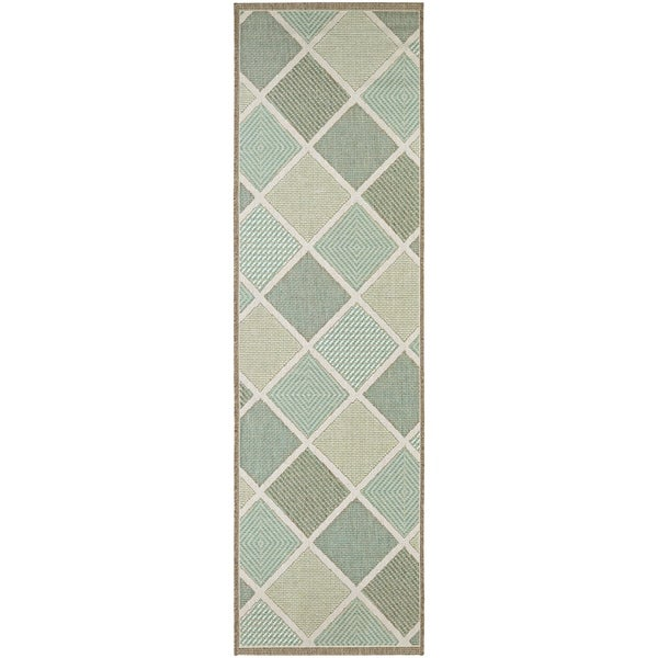 "Samantha Dustin Multicolor Indoor/Outdoor Runner Rug - 2'3"" x 11'9"" Runner"
