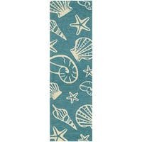 Couristan Outdoor Escape Cardita Shells Turquoise-Ivory Indoor/Outdoor Runner Rug - 2'6 x 8'6