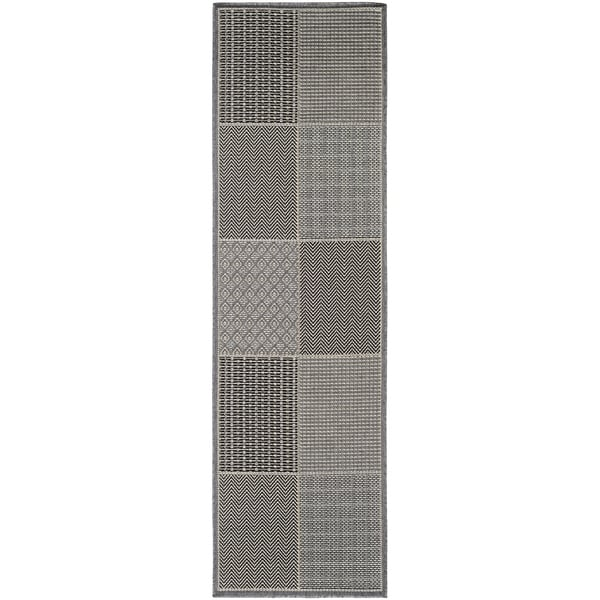 "Samantha Squares Blue/Gray Indoor/Outdoor Runner Rug - 2'3"" x 11'9"" Runner"