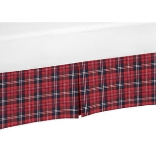 Sweet Jojo Designs Red and Black Woodland Plaid Rustic Patch Baby Boy Collection Crib Bed Skirt