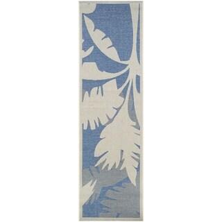 Couristan Monaco Coastal Flora Ivory-Sapphire Indoor/Outdoor Runner Rug - 2'3 x 11'9