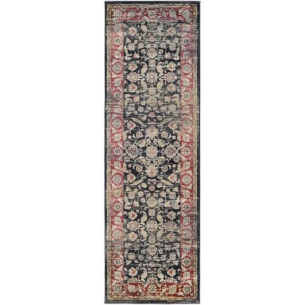 "Couristan Zahara Embellished Blossom Black-Red-Oatmeal Runner Rug - 2'7"" x 7'10"" runner"