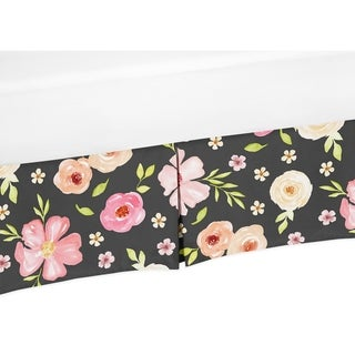 Sweet Jojo Designs Black and Blush Pink Watercolor Floral Baby Girl Collection Crib Bed Skirt