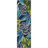 Couristan Covington Areca Palms Azure-Forest Green Indoor/Outdoor Runner Rug - 2'6 x 8'6