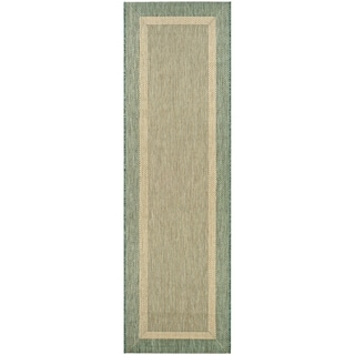 "Pergola Channel Natural-Green Indoor/Outdoor Runner Rug - 2'3"" x 11'9"" Runner"