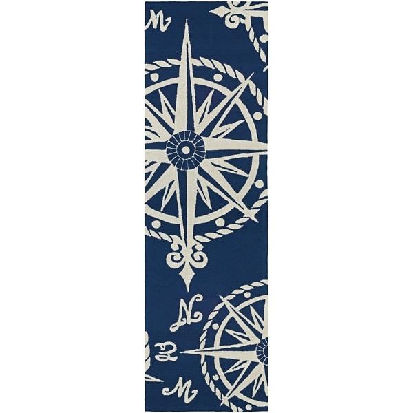 d8dec557013088 Couristan Outdoor Escape Mariner Navy-Ivory Indoor Outdoor Runner Rug - 2 6 x  8 6 - Free Shipping Today - Overstock - 26985132