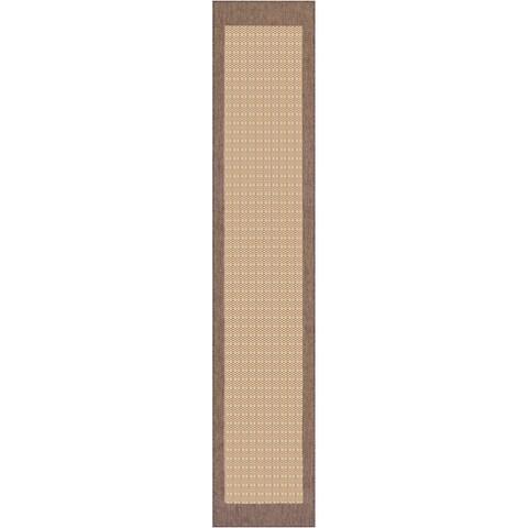 "Pergola Quad Natural-Cocoa Indoor/Outdoor Runner Rug - 2'3"" x 7'10"" Runner"
