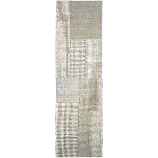 """Couristan Super Indo-Natural Joplin Light Brown/ Grey Wool Runner Rug - 2'2"""" x 7'9"""" runner"""