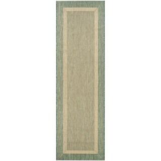 """Couristan Recife Stria Texture Natural-Green Indoor/Outdoor Runner Rug - 2'3"""" x 7'10"""""""