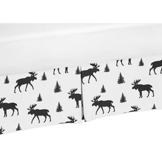 Sweet Jojo Designs Black and White Woodland Moose Rustic Patch Collection Toddler Bed Skirt