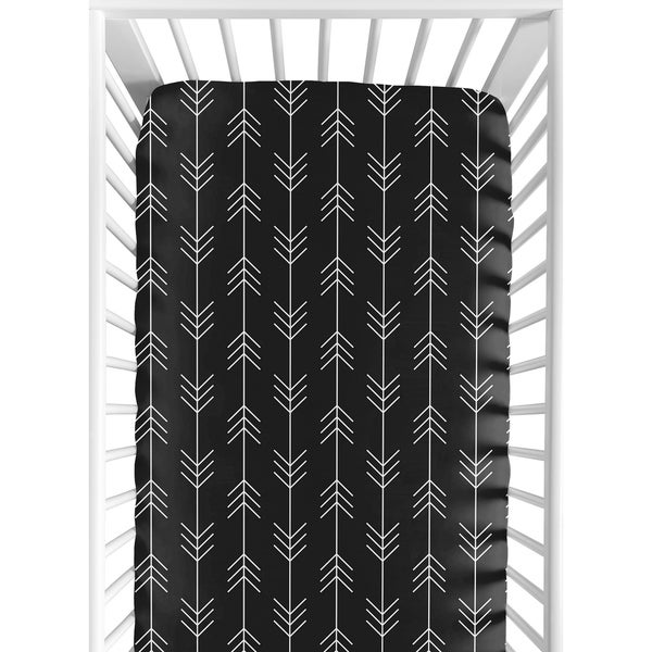 Sweet Jojo Designs Black and White Woodland Arrow Rustic Patch Collection Fitted Crib Sheet