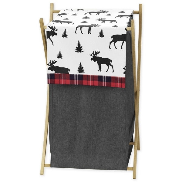Sweet Jojo Designs Grey, Black and Red Woodland Plaid and Moose Rustic Patch Collection Laundry Hamper
