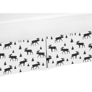 Sweet Jojo Designs Black and White Woodland Moose Rustic Patch Baby Boy Collection Crib Bed Skirt