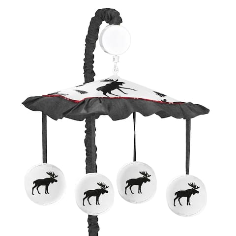 Sweet Jojo Designs Grey, Black and Red Woodland Plaid and Moose Rustic Patch Collection Musical Crib Mobile