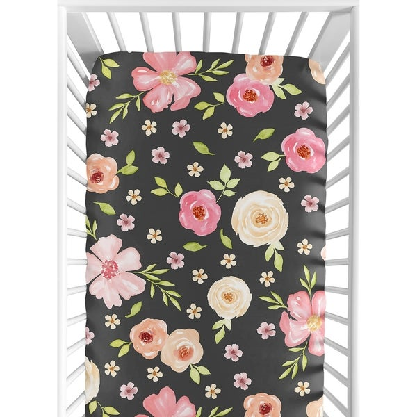 Sweet Jojo Designs Black and Blush Pink Watercolor Floral Collection Fitted Crib Sheet