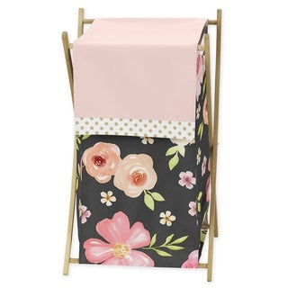 Sweet Jojo Designs Black, Blush Pink and Gold Watercolor Floral Collection Laundry Hamper