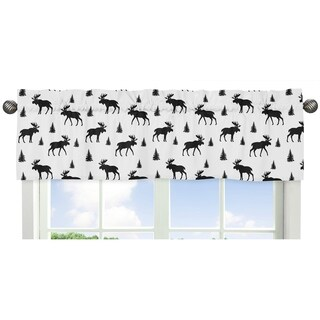 Sweet Jojo Designs Black and White Woodland Moose Rustic Patch Collection Window Curtain Valance