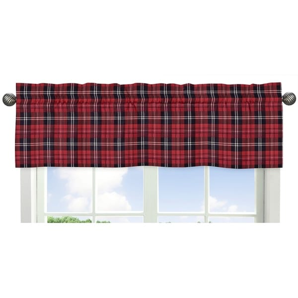 marvelous Red And Grey Valance Part - 16: Sweet Jojo Designs Red and Black Woodland Plaid Flannel Rustic Patch  Collection Window Curtain Valance