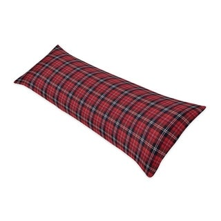 Sweet Jojo Designs Red and Black Woodland Plaid Flannel Rustic Patch Collection Body Pillow Case (Pillow Not Included)