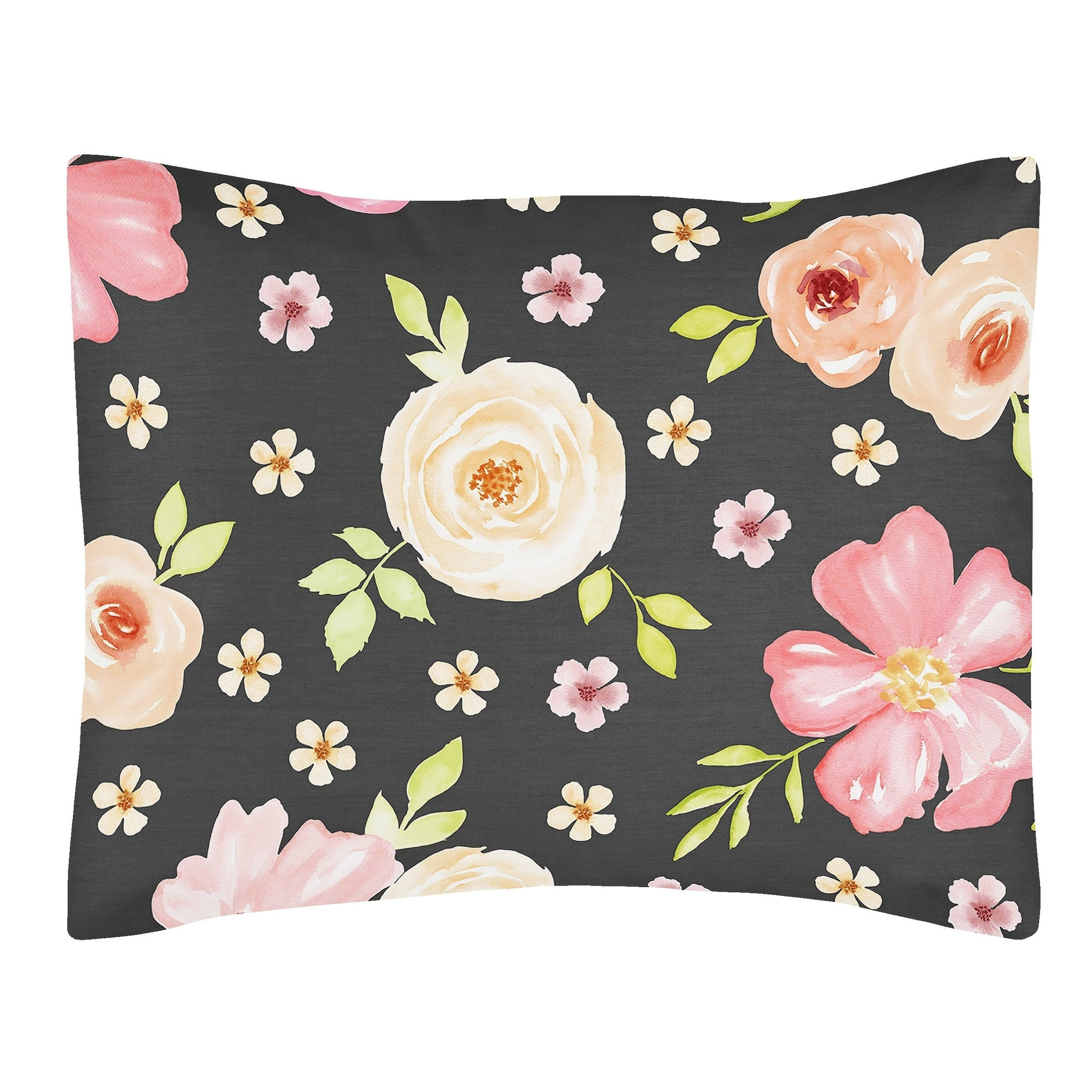 Sweet Jojo Designs Black And Blush Pink Watercolor Floral Collection Standard Pillow Sham Overstock 21218455