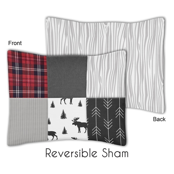 Sweet Jojo Designs Grey, Black and Red Woodland Moose and Arrow Rustic Patch Collection Standard Pillow Sham