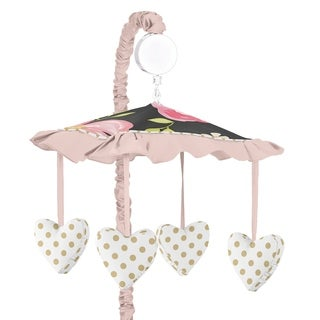 Sweet Jojo Designs Black, Blush Pink and Gold Watercolor Floral Collection Musical Crib Mobile
