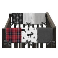 Sweet Jojo Designs Grey Black Red Woodland Plaid Arrow Rustic Patch Collection Side Crib Rail Guard Covers (Set of 2)