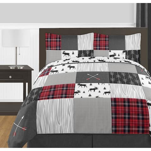 Sweet Jojo Designs Grey Black Red Woodland Plaid Arrow Rustic Patch Collection Boy 3pc Full / Queen-size Comforter Set