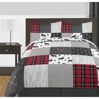 Link to Sweet Jojo Designs Grey Black Red Woodland Plaid Arrow Rustic Patch Collection Boy 3pc Full / Queen-size Comforter Set Similar Items in Kids Comforter Sets